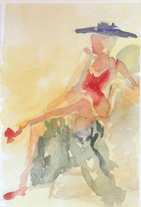 water color red shoes lady